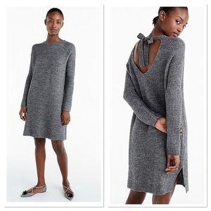 J. Crew Open back bow oversized knit sweater dress